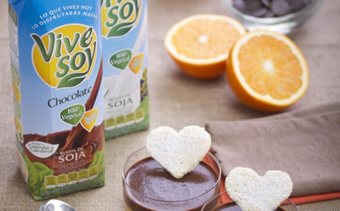 Vasitos de naranja y Vivesoy Chocolate